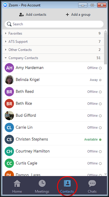 Adding And Locating Contacts In Zoom Students Athens