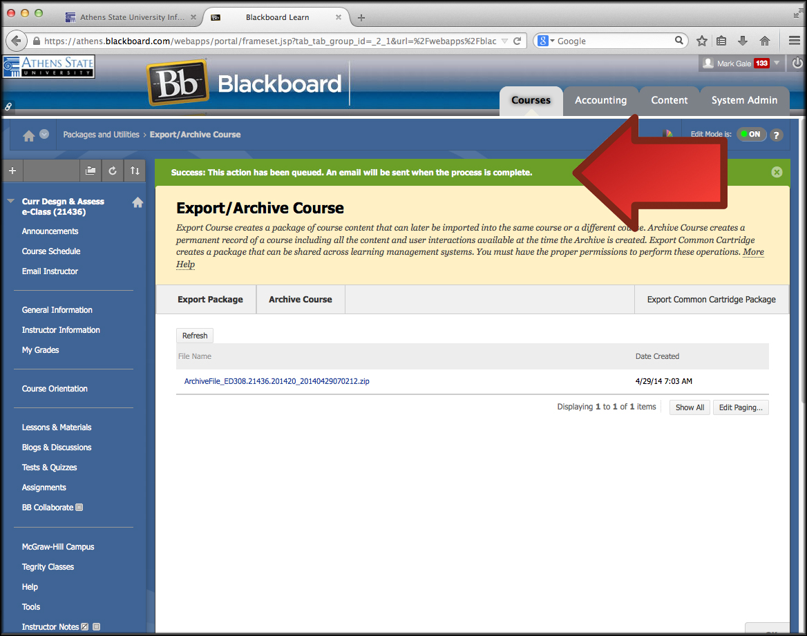 Blackboard Learn: Creating a Course Archive – Athens State ...