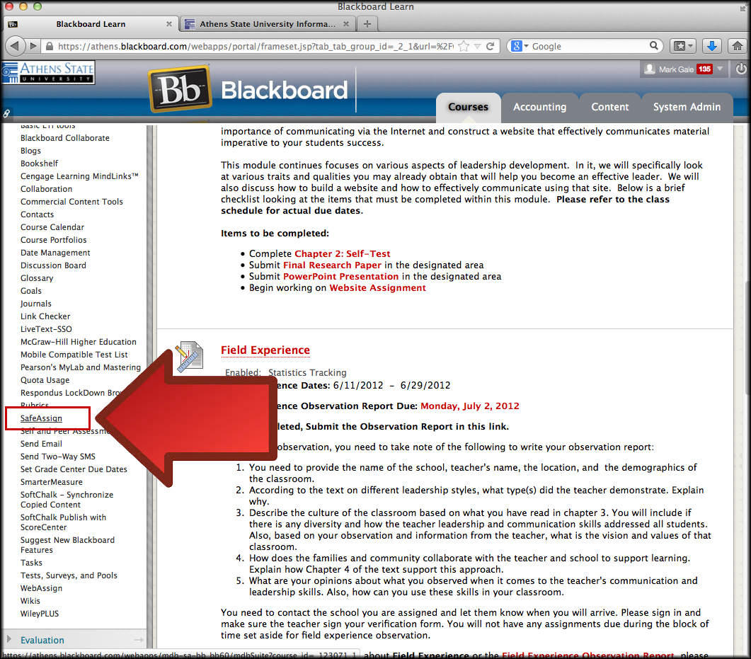 After Transferring Your Course Content Into Your New Blackboard Course  Shell, Go Into The New Course And Select SafeAssign, From The Course Tools  Link In ...