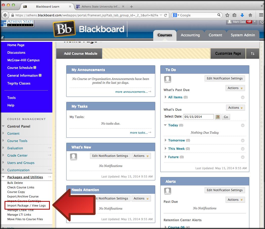 Blackboard Learn Importing An Archive